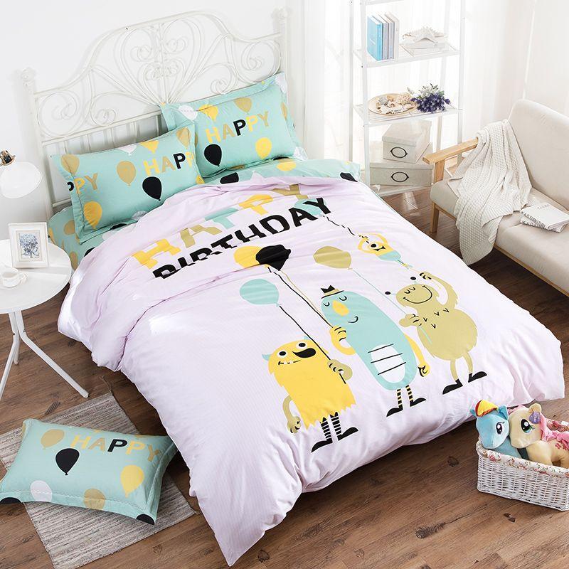New Cartoon Bedding Set 4pcs Printing Minions Bedclothes Duvet Cover Bed Sheet Children Kids Comforter