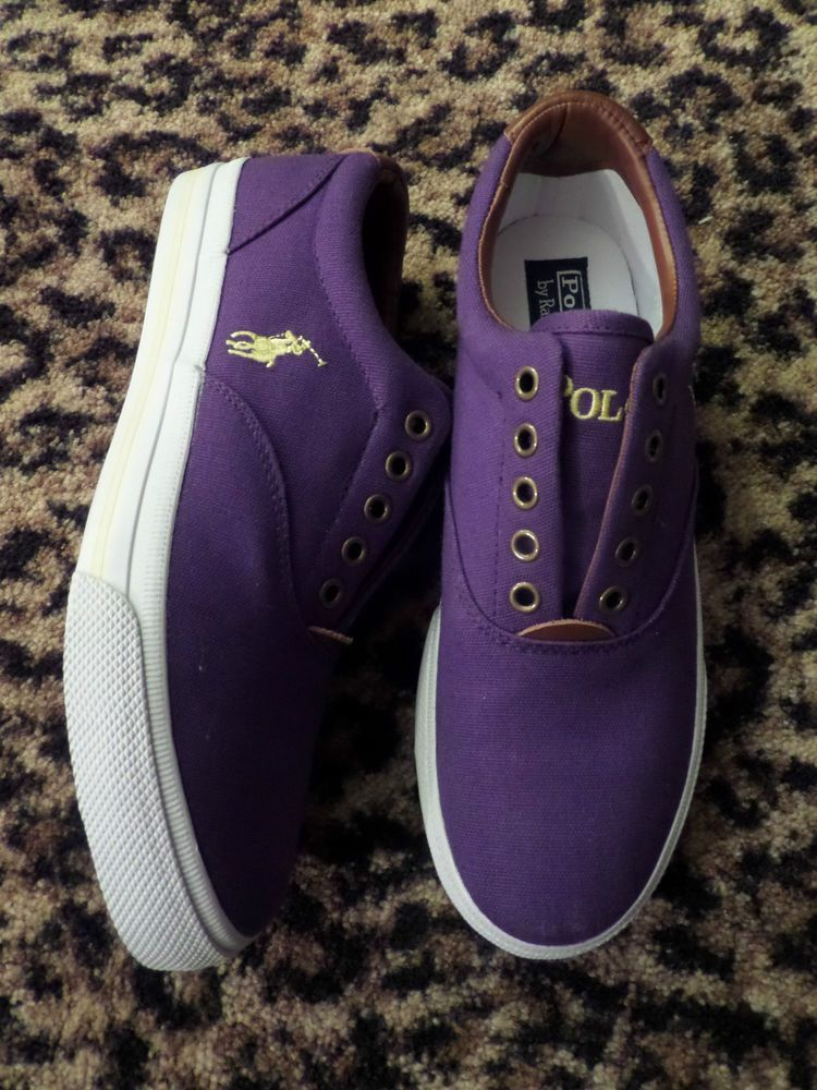 Ralph Lauren POLO Mens Canvas Leather Shoes Sneakers NEW Purple Yellow NEW  8 1 2  PoloRalphLauren  AthleticSneakers a59e17bb9e