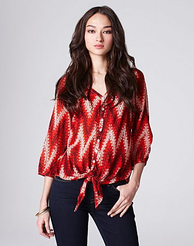 John Robshaw Tie-Front Blouse - Tops & Tees - Lucky Brand Jeans