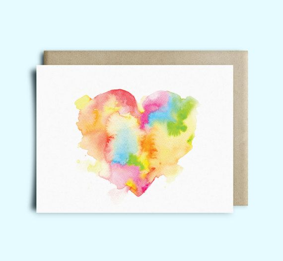 Heart Watercolor Greeting Card Valentine\u0027s Day Card Sympathy