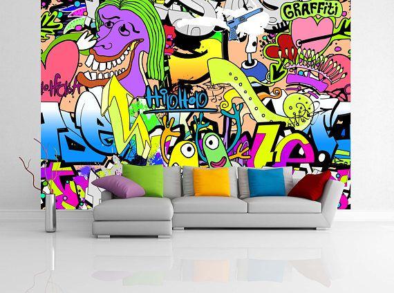 Removable Wallpaper Mural Peel Stick Graffiti Wall Urban Art Mural Wallpaper Graffiti Wall Art Colorful Wallpaper