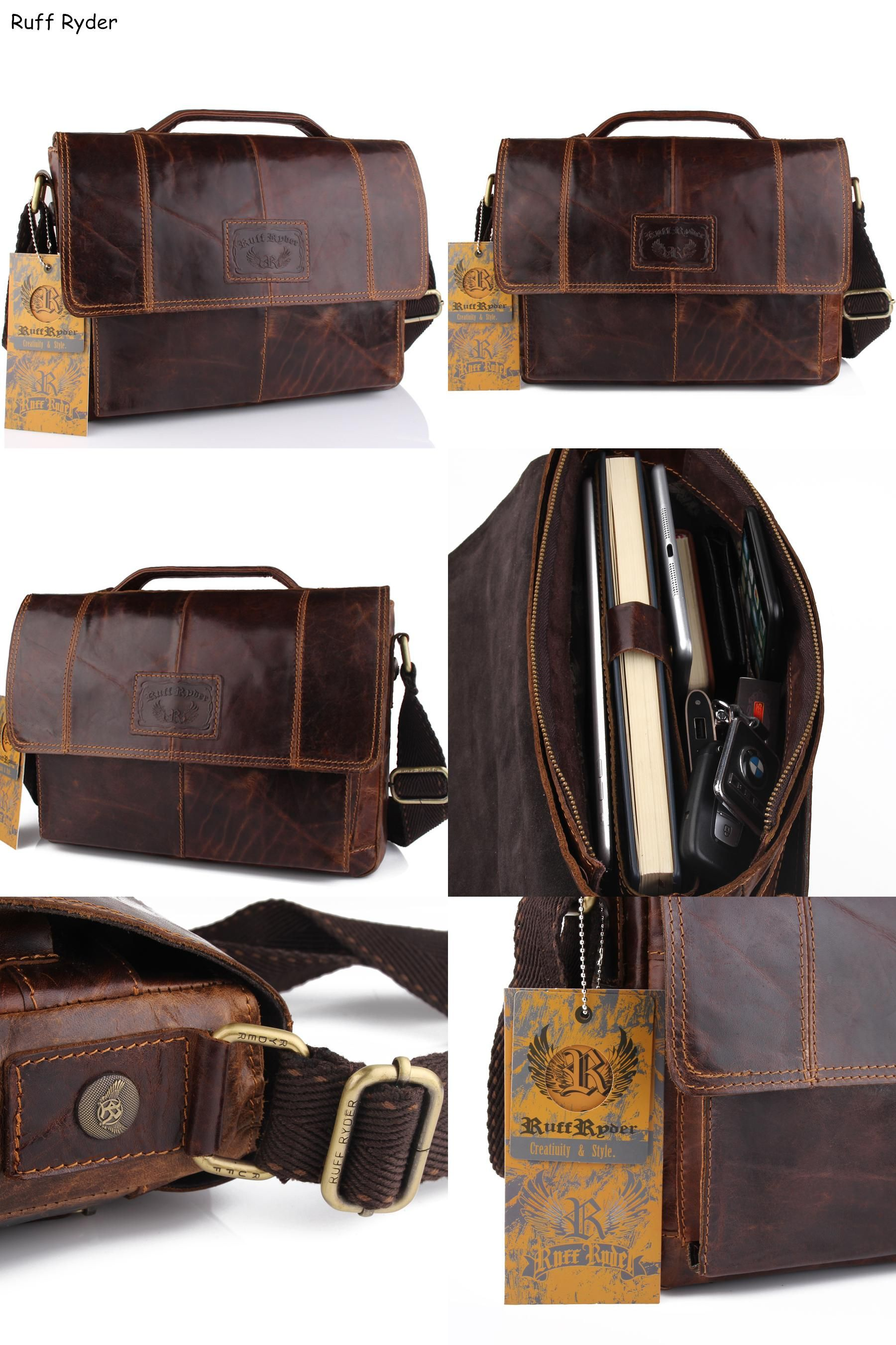 Visit to Buy  Ruff Ryder New Vintage Men Genuine Oil Wax Leather Business  bags eb3cc387db468