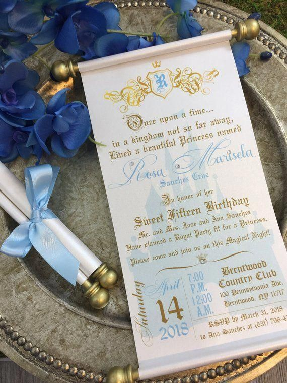 Princess Sweet 16th Birthday Scroll Invitation Cinderella Inspired Royal Quinceañera #quinceaneraparty
