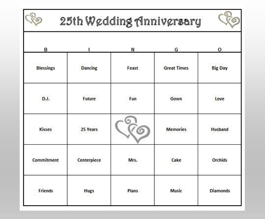 games to play for a 25th wedding anniversary party
