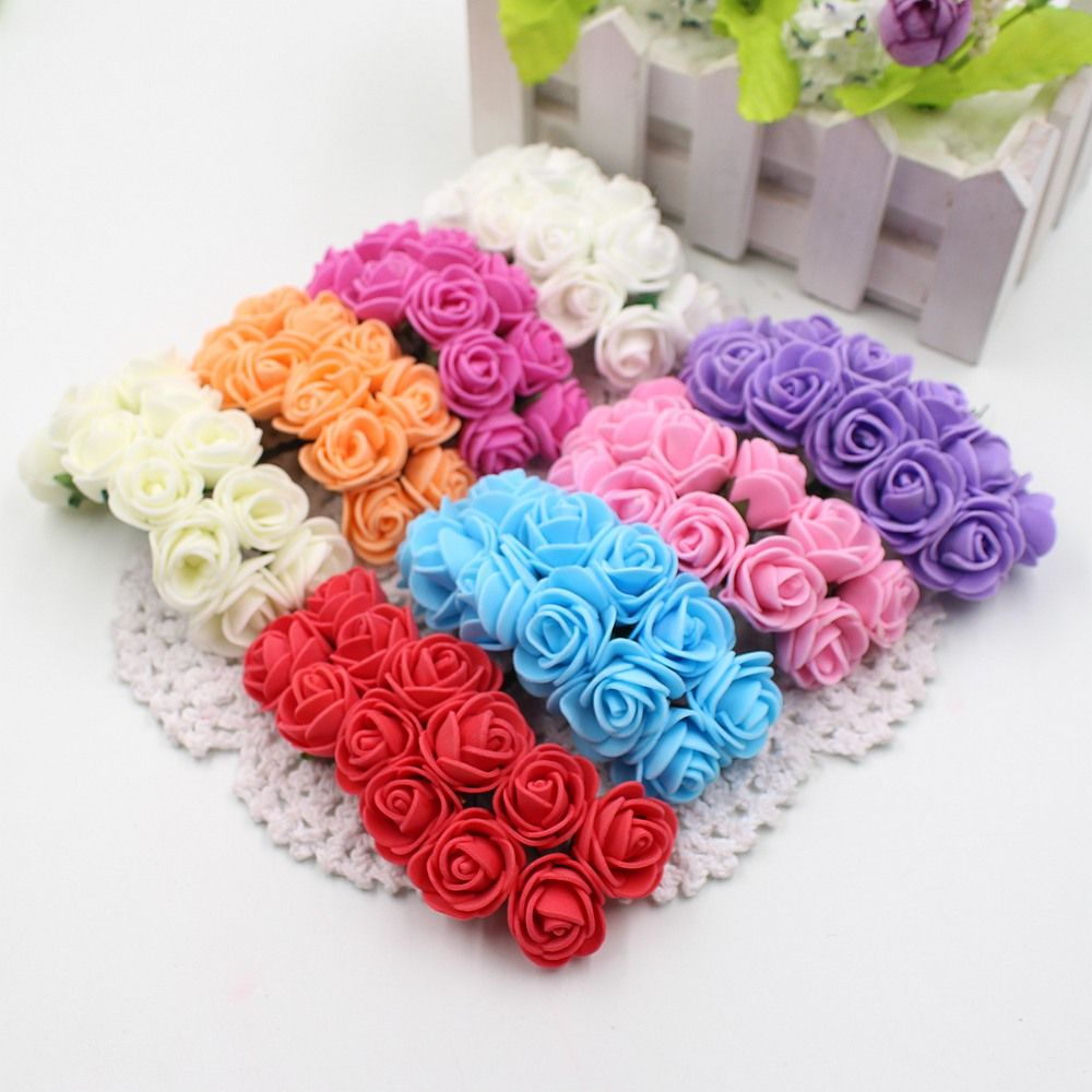 144pcs 2cm Mini Foam Rose Artificial Flower Bouquet Multicolor Rose ...