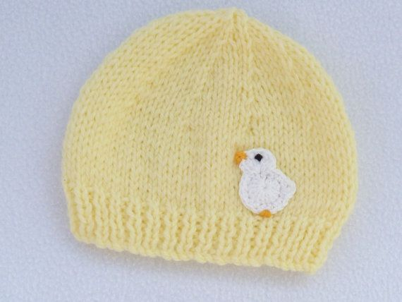 Knitted baby clothes Hand knitted baby hat in lemon to fit #premiebabyhats