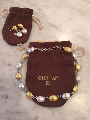 Gurhan gold and sterlig necklace and matching earrings - http://designerjewelrygalleria.com/gurhan/gurhan-gold-and-sterlig-necklace-and-matching-earrings/