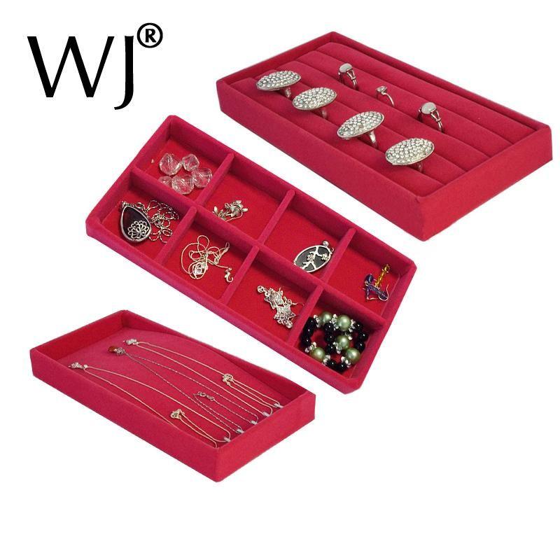 Organizer Rose Red Velvet 11x22cm Jewelry Display Tray Kit Ring