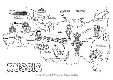 Russia Map Colouring Page Theme Tour Du Monde