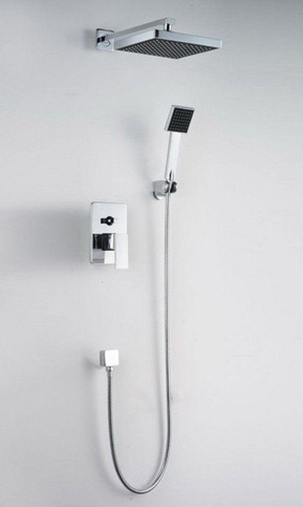 Bathroom Luxury Chrome Rain Shower Head Arm Set Faucet With Handy ...