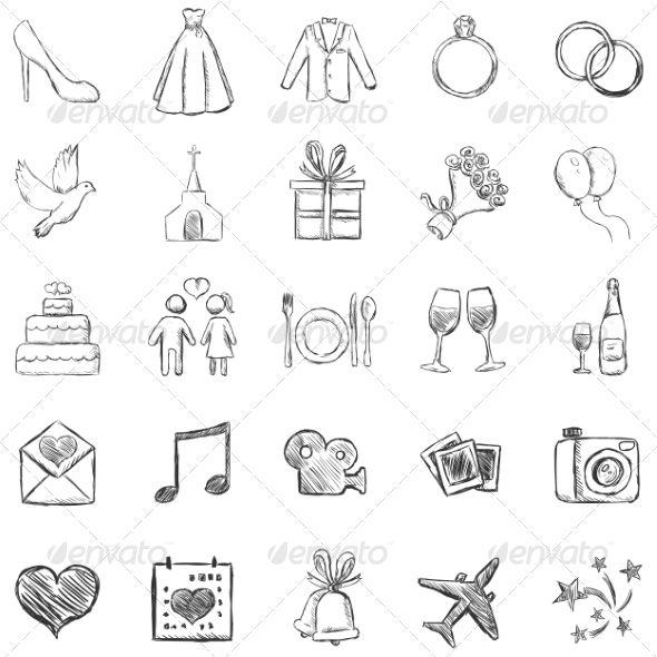 Set Of Sketch Weddings Icons Wedding Icon Wedding Vector Art Wedding Symbols