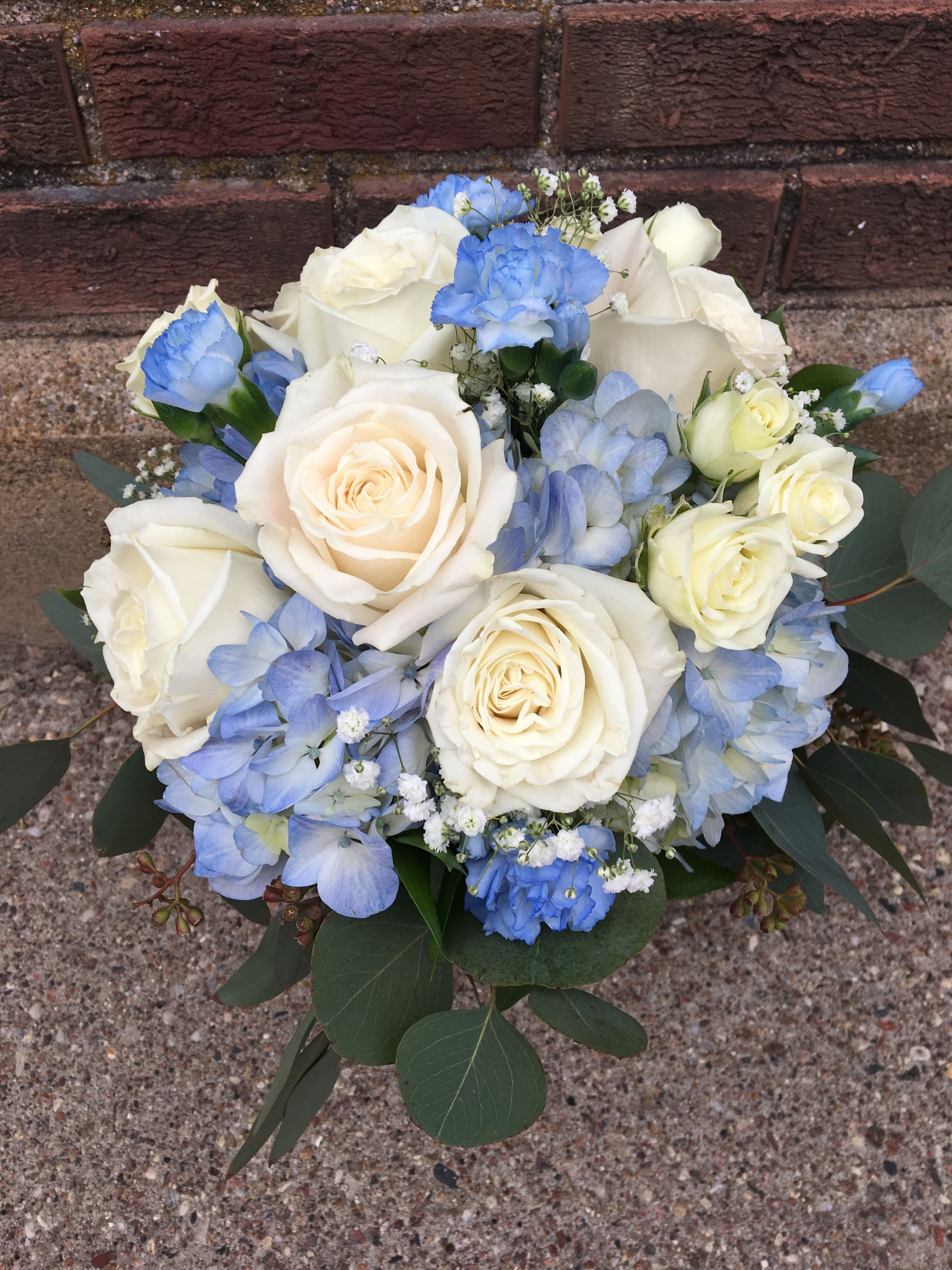 Something Blue Blue Wedding Bouquet Carnation Wedding Bouquet White Rose Bouquet