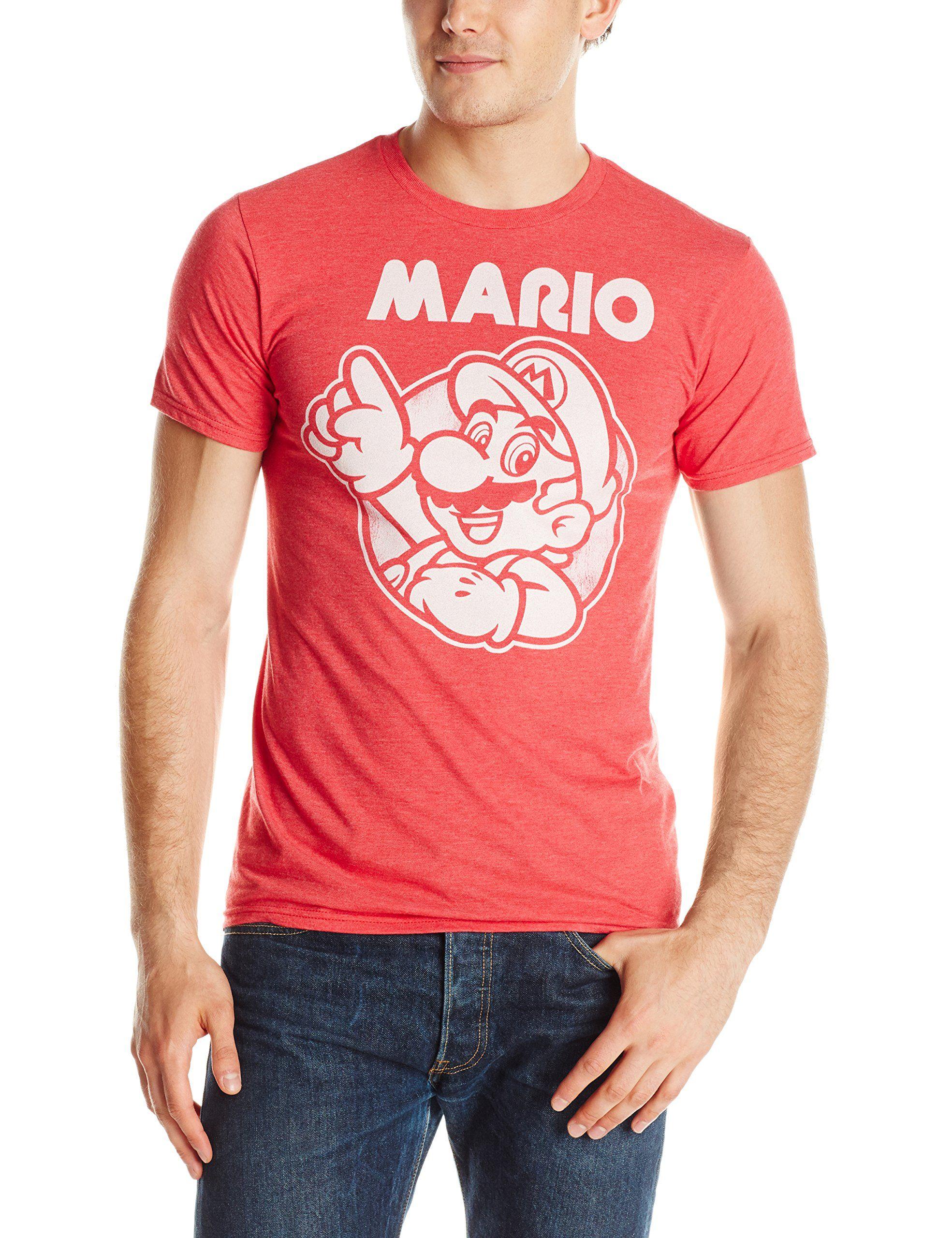 Nintendo Men's So Mario T-Shirt, Red Heather, Medium