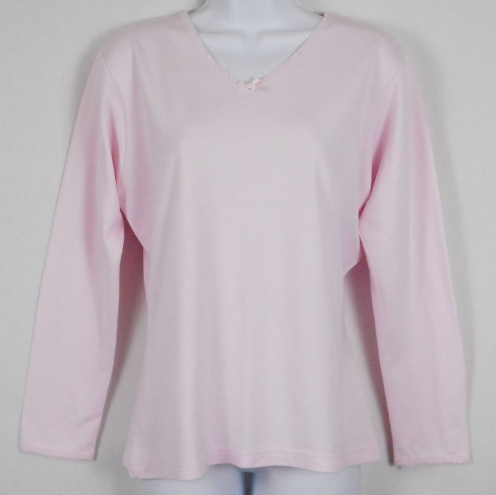 7f5f0bcabfb22 Secret Treasures Womens Top Pink Size L Long Sleeve V Neck Lace Trim  Warmwear  SecretTreasures  BackToSchool