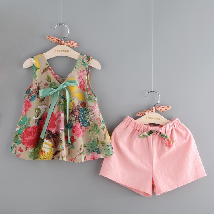 87ee8f5c629e5 Bear Leader Grils Vêtements 2017 De Mode D'été Style Fille Ensembles de Vêtements  Sans Manche Imprimé floral Conception Gilet + Shorts pour Enfants Costume