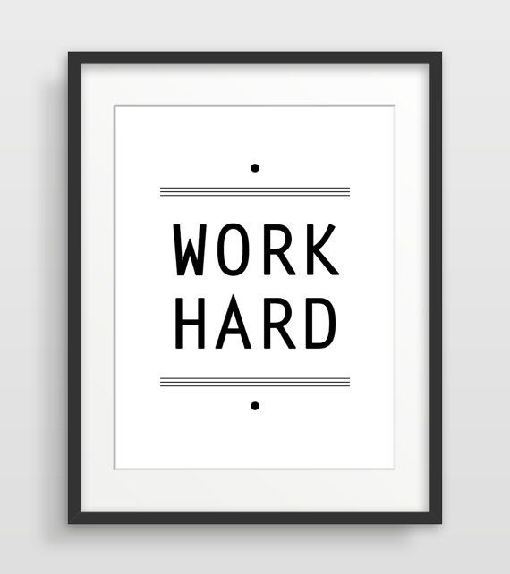 Office art typography print inspirational quote home office decor work hard