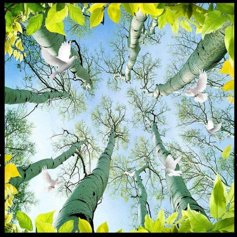 Large Custom 3d Mural Wallpaper Trees Leaves Birds Wallpapers Living Room Bedroom Fashion Ceiling Wall Paper Bird Wallpaper Plant Leaves Tree Leaves