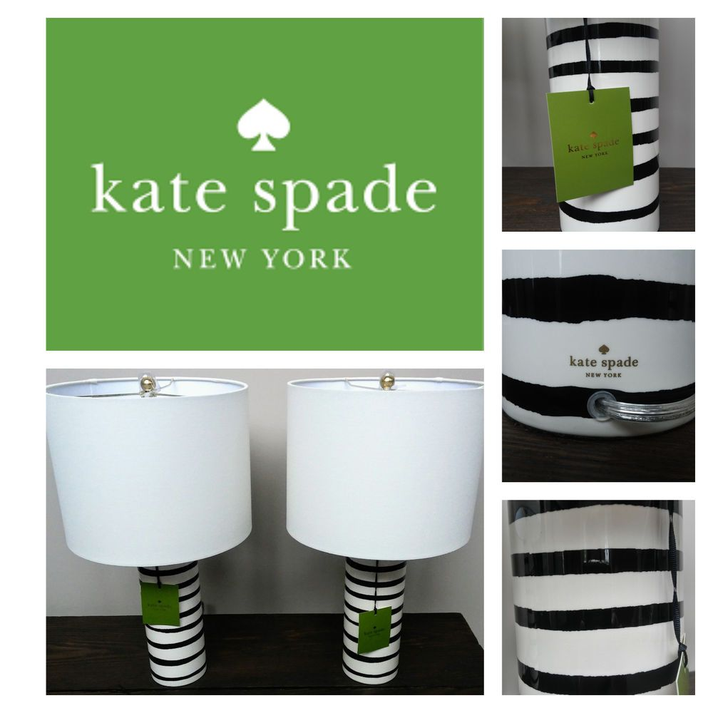 New Kate Spade 2 Black Cream Striped Cylinder Lamps With