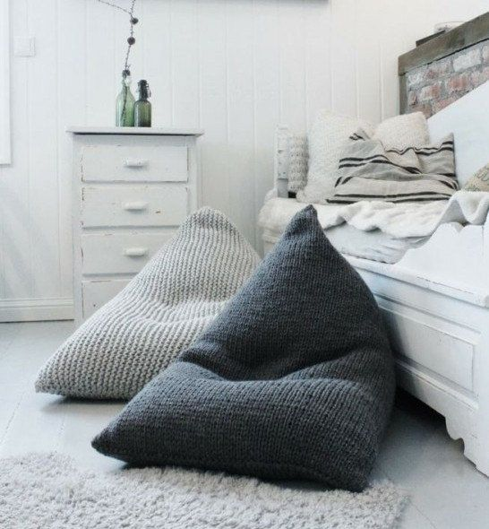 Wool Knitted White Kids Adult Bean Bag Wool Chair Floor Pillow