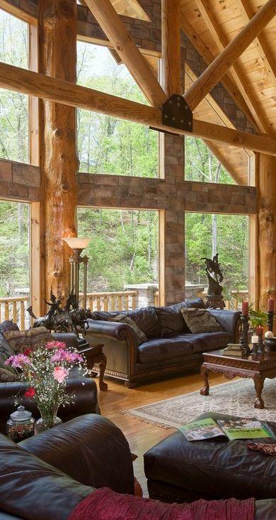 Lovely rustic interior log homes log cabins Log home