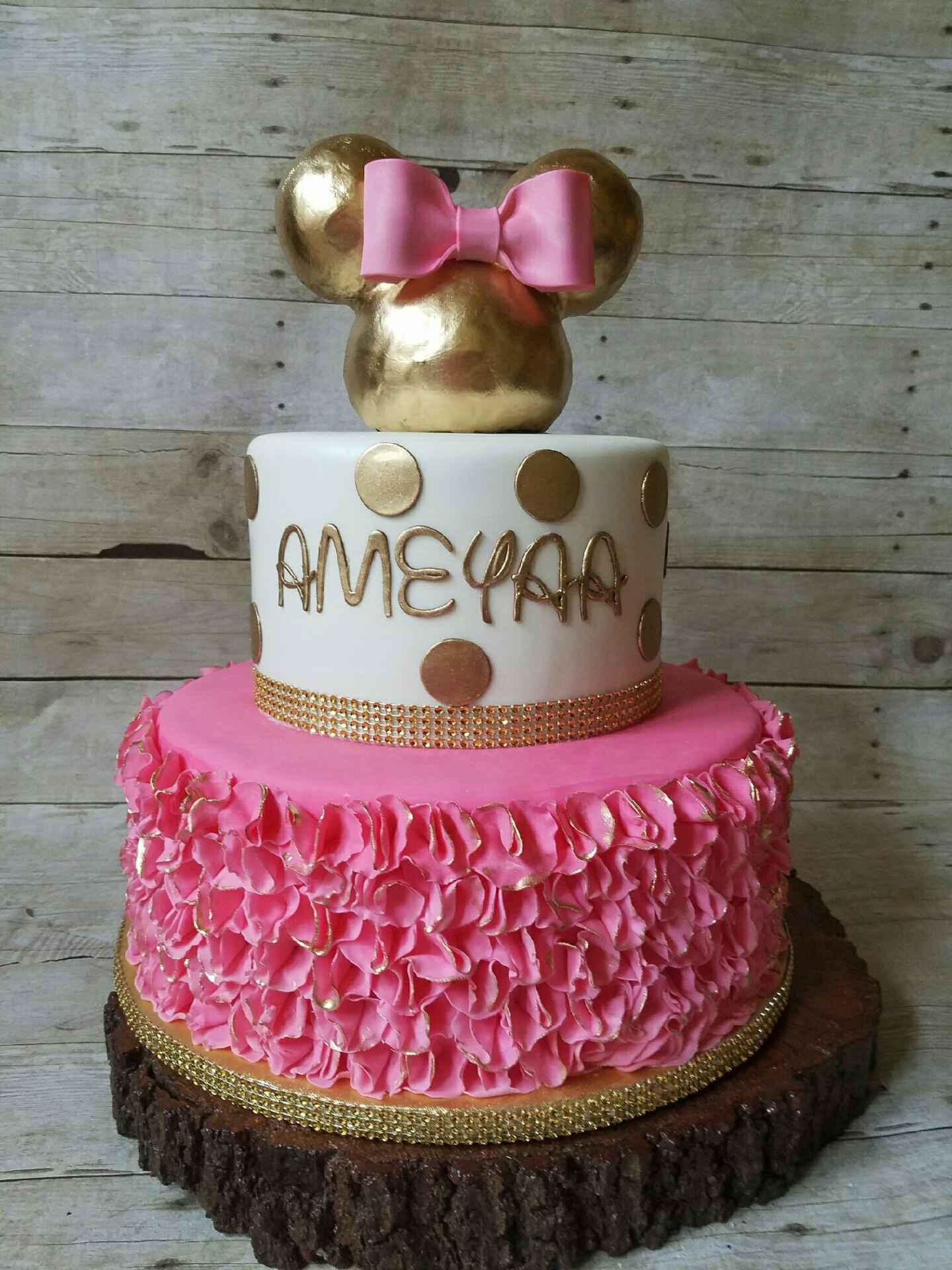 Gold And Pink Minnie Mouse Cake Minnie Mouse Birthday