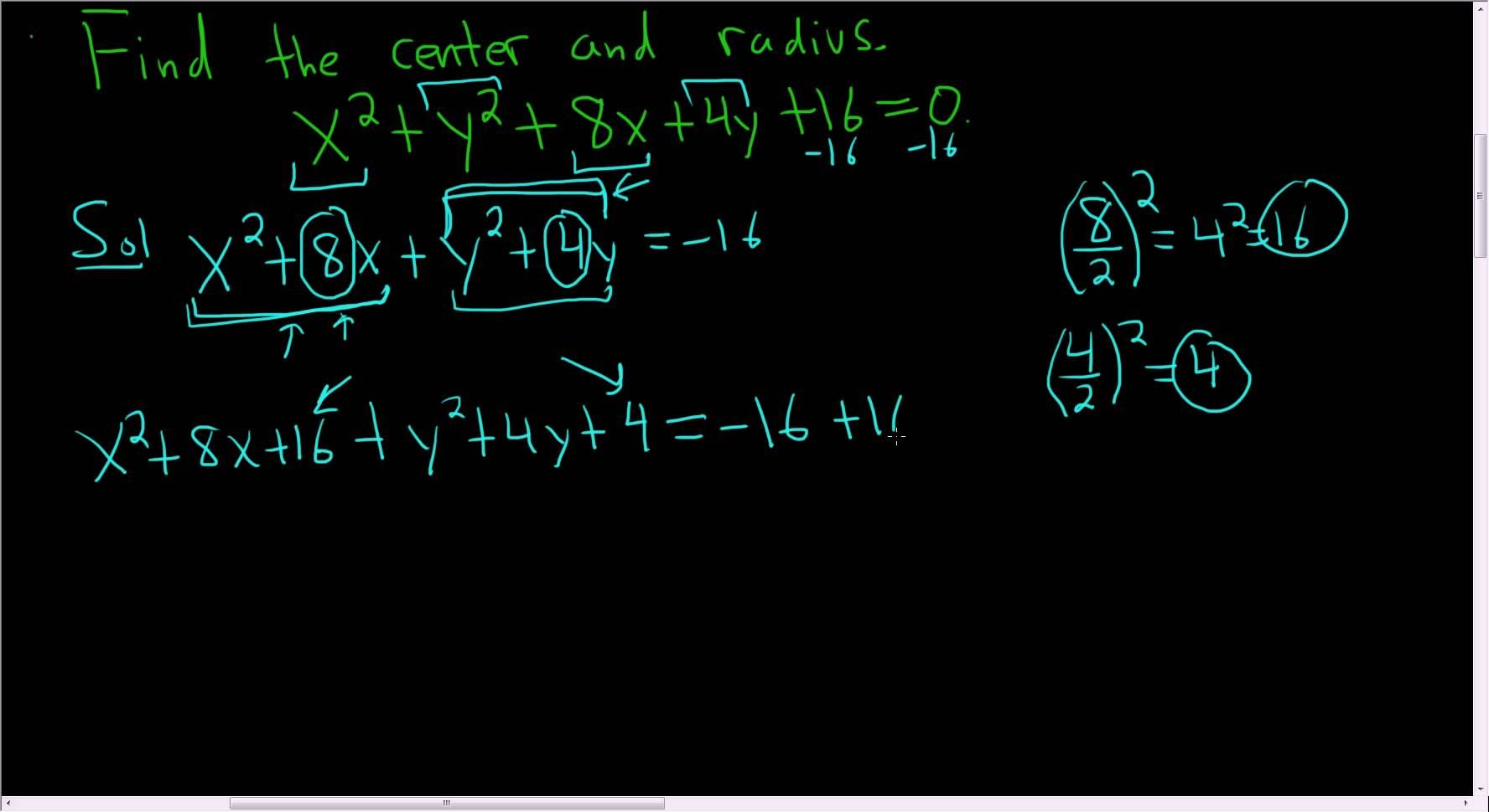 Finding The Center And Radius Of A Circle By Completing The Square Maths Exam Circle Graph Math Videos