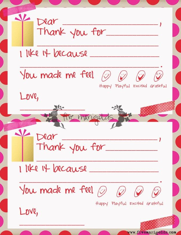 Christmas Thank You Note Templates For Kids Five Marigolds Thank You Note Template Note Card Template Thank You Note Cards