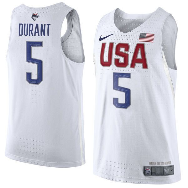 520a369ad76 Men's Nike Kevin Durant White USA Basketball Rio Authentic Jersey ...