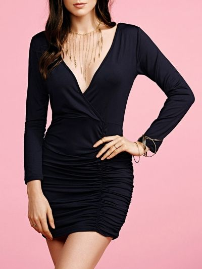 SHARE & Get it FREE | Black Fitted Plunging Neck Long Sleeve DressFor Fashion Lovers only:80,000+ Items • New Arrivals Daily Join Zaful: Get YOUR $50 NOW!