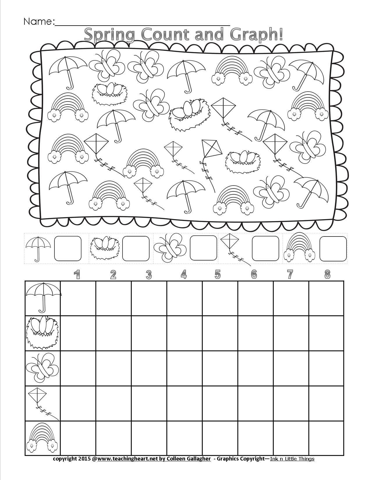 Spring Worksheets For Kindergarten Spring Count And Graph