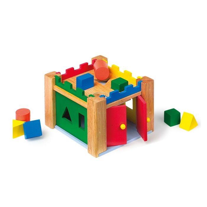 juguete de madera educativo para nios en forma de castillo para encajar piezas y