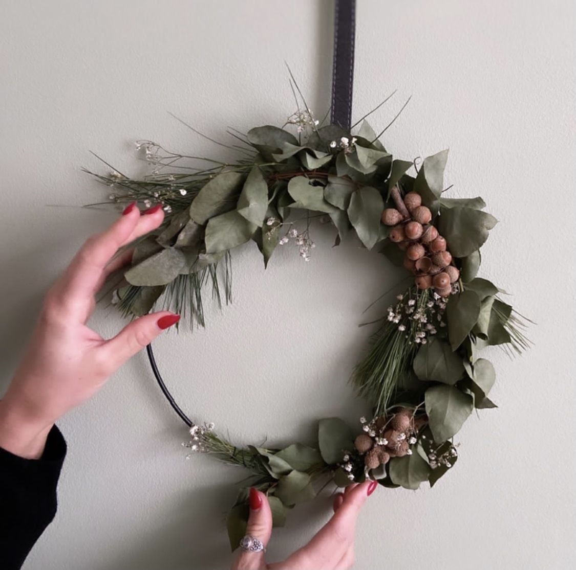 Winter Krans Met Eucalyptus Krans Decoratie Bloemsierkunst