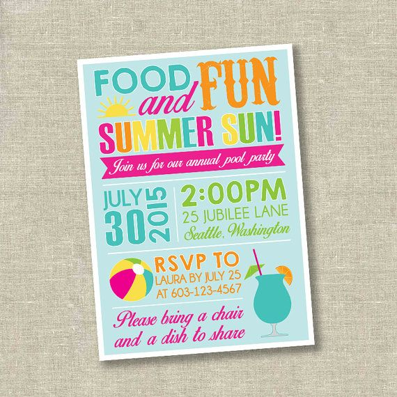 Pool party invitation, summer party invitation, cookout invitation - pool party invitation