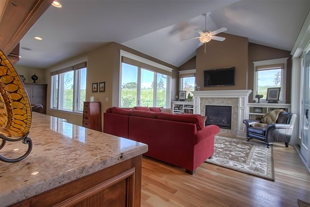 Cozy Family Room With Built In Entertainment Center.  MD
