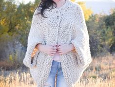 Easy Knit Blanket Sweater Pattern #blanketsweater