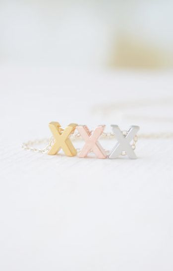 Rose Gold Silver & Gold 3 Letter Necklace