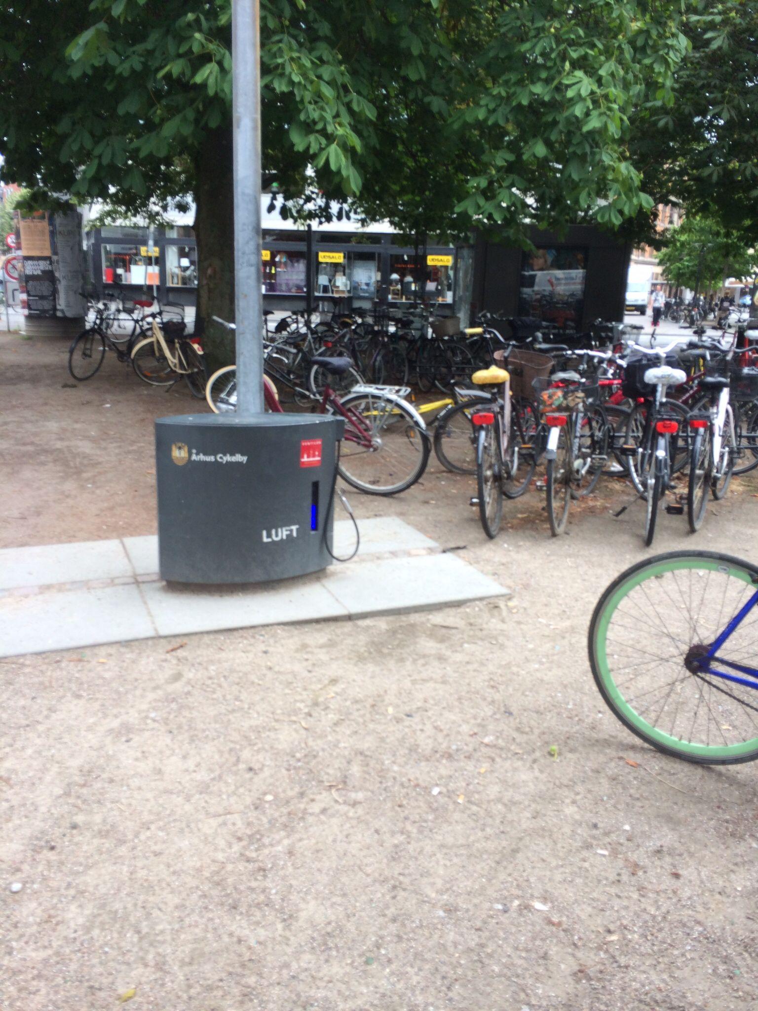 Free air pump by bike racks
