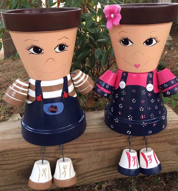 Clay Pot People Flower Pot People Clay Pot People Planters Little Boy Or Girl Description This Garden Clay Pot Crafts Painted Clay Pots Clay Flower Pots