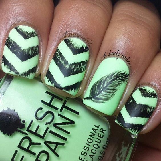 Gorgeous Feather Nail Art! | nails | Pinterest | Diseños de uñas