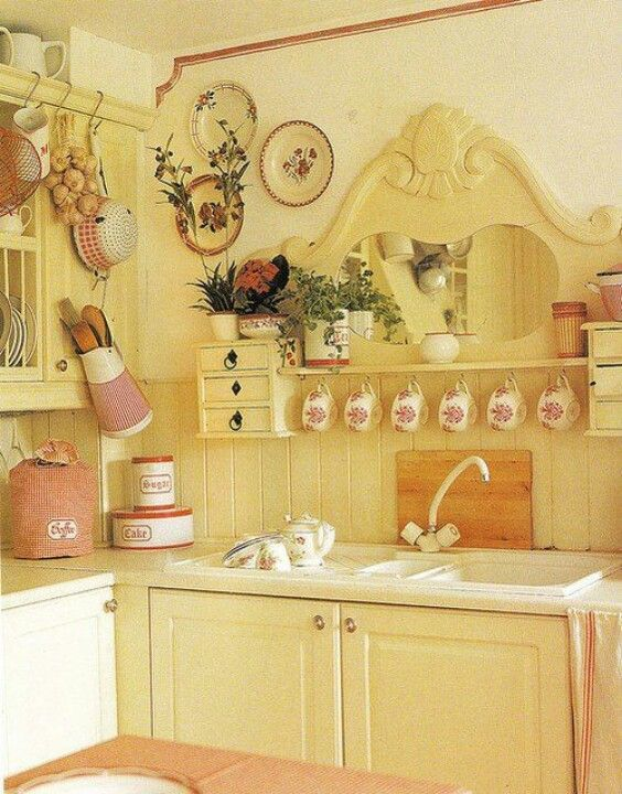 yellow kitchen.   combine my rattan headboard over a shelf for this look?