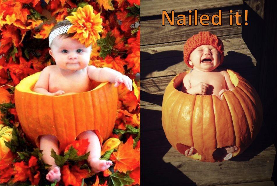 Newborn pumpkin photography better luck next year im thinking a 5 week old is a bit too young