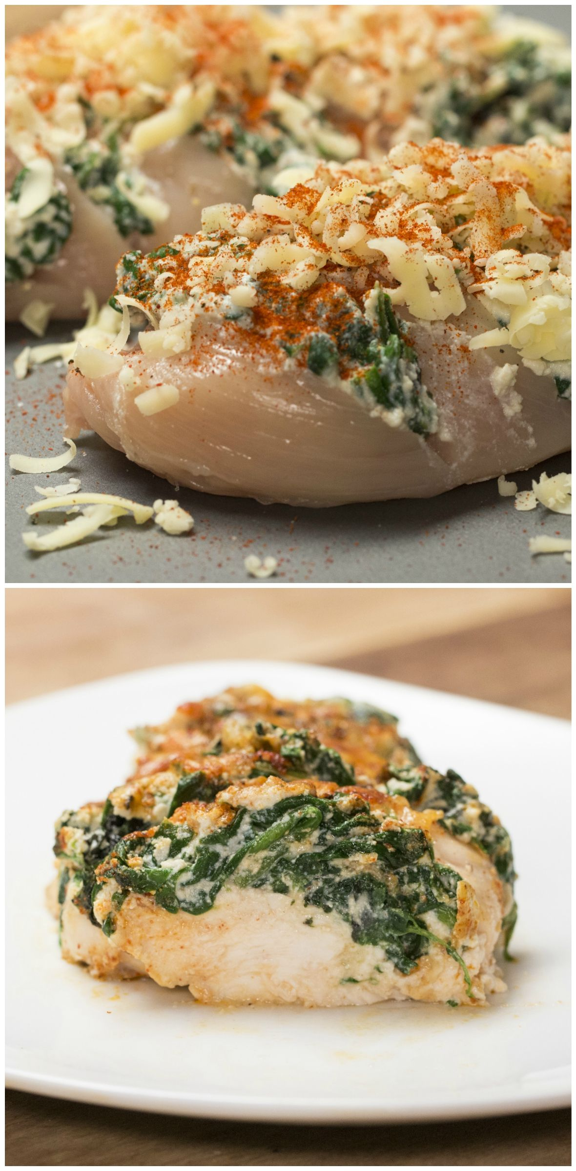 Here S What You Ll Need Splash Of Oil Fresh Spinach Ricotta Cheese 2 Chicken Breasts Cheddar Cheese Paprika Salt Pepper