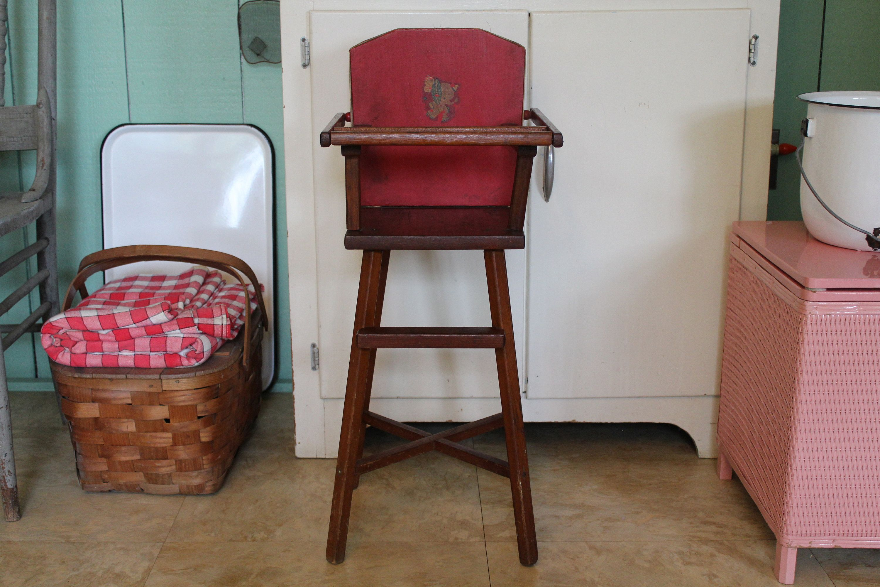 Vintage Doll High Chair 48 Red Toy High Chair Pla Doll High
