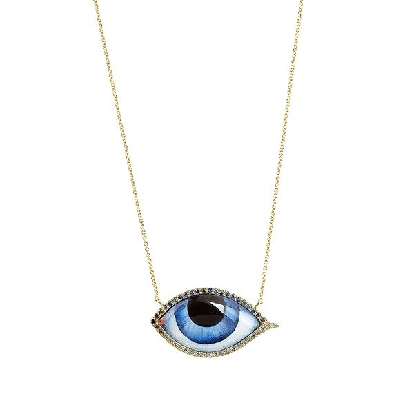 Big blue evil eye with diamonds and sapphires necklace jewelry i big blue evil eye with diamonds and sapphires necklace mozeypictures Images