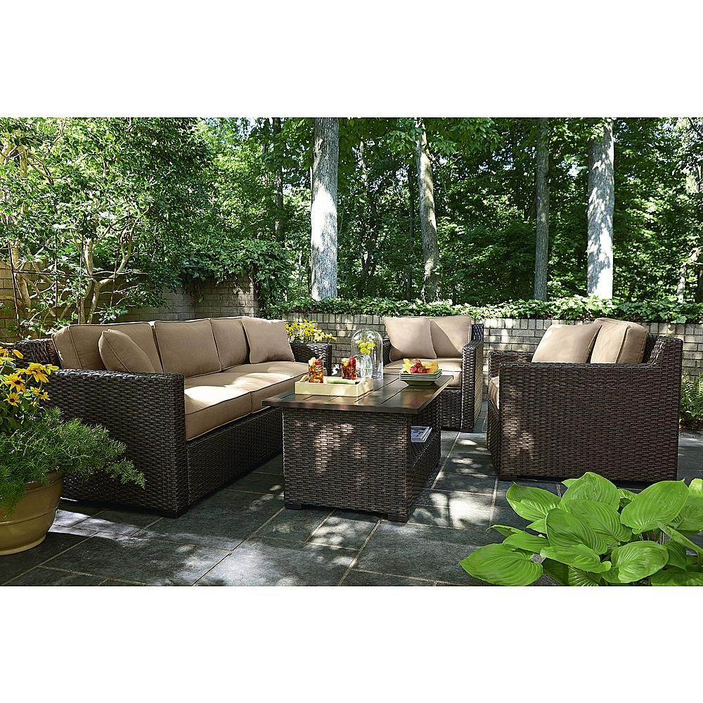 Agio International Moore Haven 4 Piece Woven Sofa Seating  Neutral   Outdoor  Living   Patio