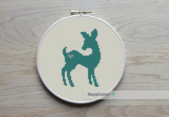 cross stitch pattern deer deer silhouette modern by Happinesst
