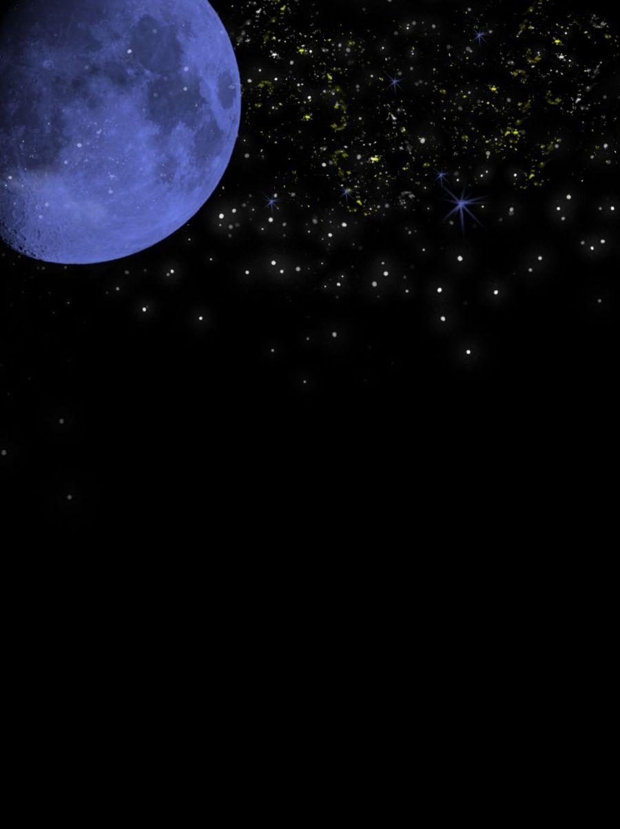 بسيطة بسيطة سوداء خلفية سماء نجمية قمر أضيق الحدود نجمة Black Moon Moon Celestial