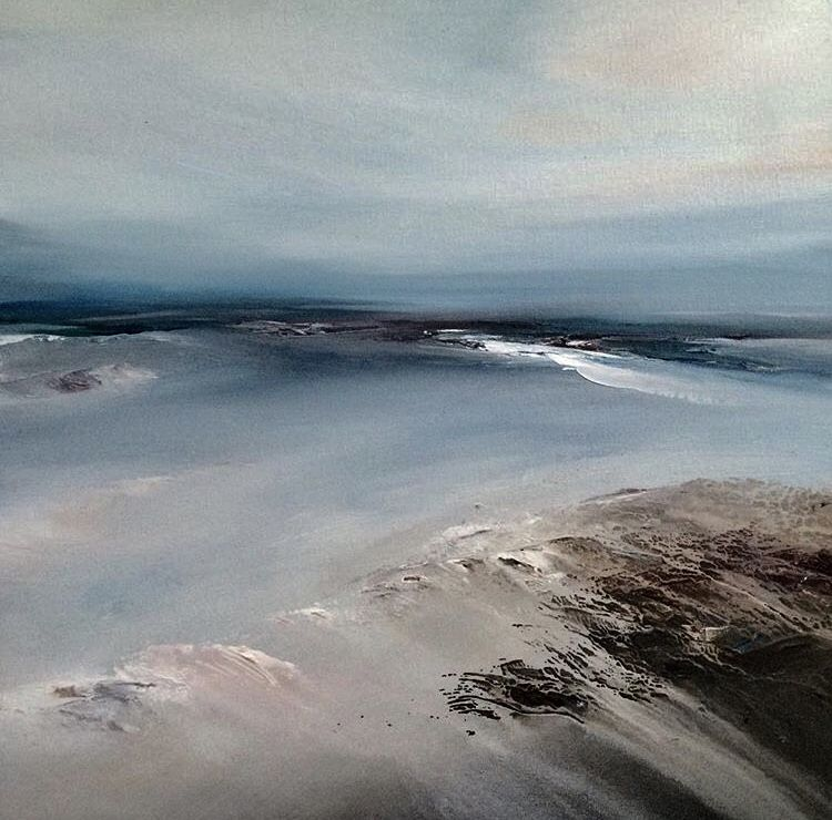 Fine art semi abstract seascape painting by british artist