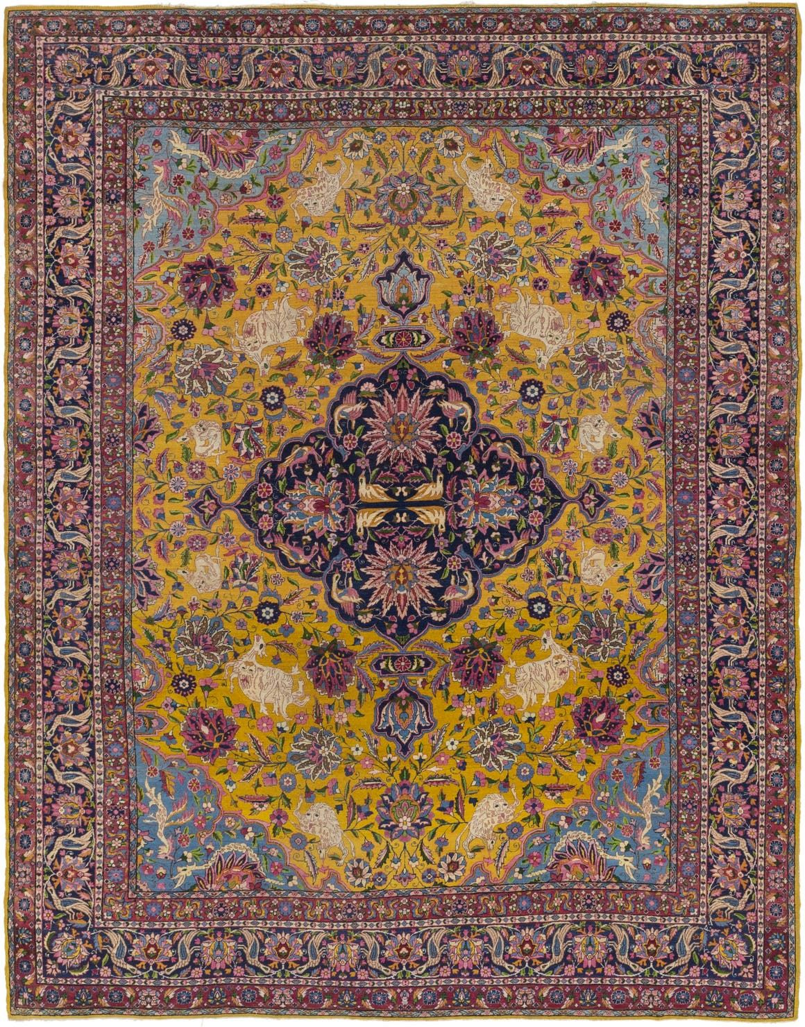 Kashan Gold Antique 8x11 Area Rug In 2020 Persian Rug Rugs Gold Rug