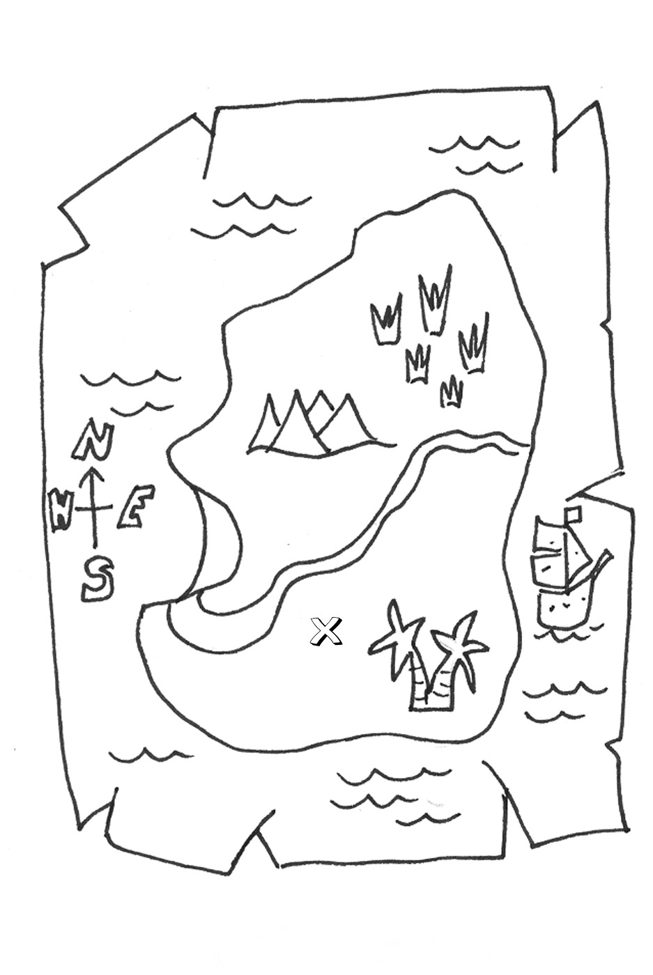 Treasure Map Coloring Pages World map coloring page